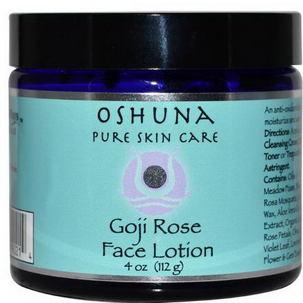WiseWays Herbals, LLC, Oshuna, Goji Rose Face Lotion, 4oz (112g)