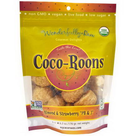 Wonderfully Raw Gourmet Delights, Organic, Coco-Roons, Almond, Strawberry, PB&J, 8 Count, 6.2oz (176g)