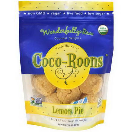 Wonderfully Raw Gourmet Delights, Organic Coco-Roons, Lemon Pie, 8 Count, 6.2oz (176g)