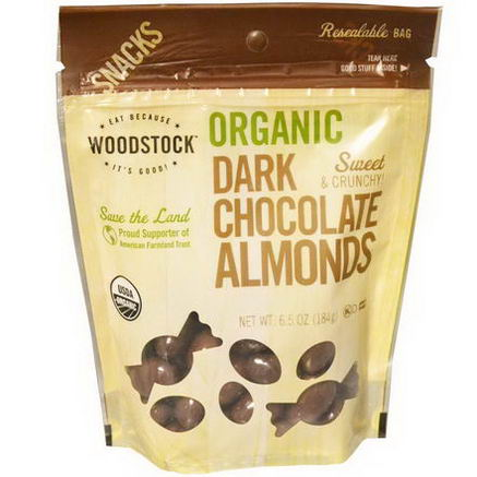 Woodstock Farms, Organic, Dark Chocolate Almonds, 6.5oz (184g)