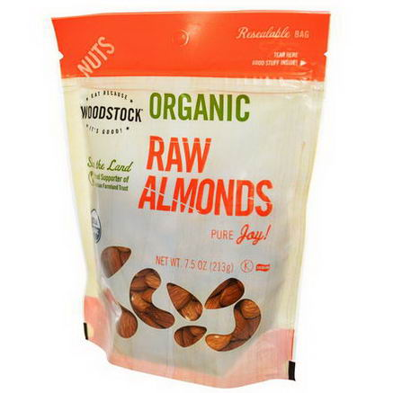 Woodstock Farms, Organic, Raw Almonds, 7.5oz (213g)