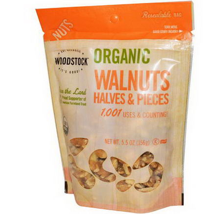 Woodstock Farms, Organic Walnuts, Halves and Pieces, 5.5oz (156g)