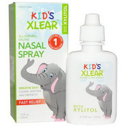Xlear Inc (Xclear), Kid's Xlear, Saline Nasal Spray, With Xylitol, 75 fl oz (22 ml)