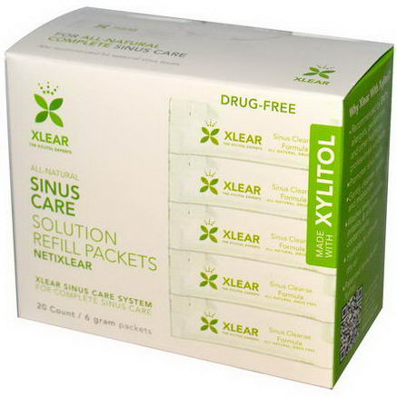 Xlear Inc (Xclear), NetiXlear, Sinus Care, Made With Xylitol, 20 Count, 6g Each