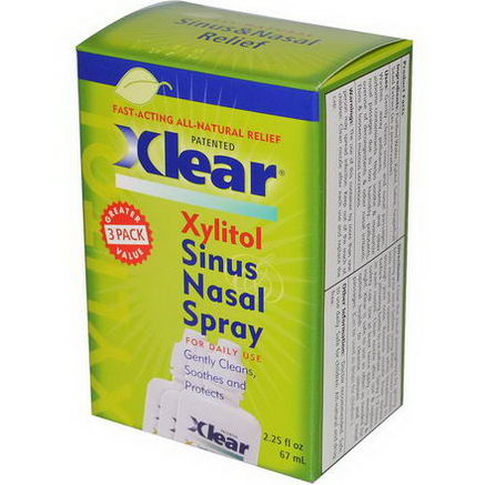Xlear Inc (Xclear), Xylitol Sinus Nasal Spray, 3 Pack, 75 fl oz (22 ml) Each
