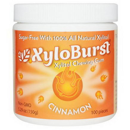 Xyloburst, Xylitol Chewing Gum, Cinnamon, 5.29oz (150g), 100 Pieces