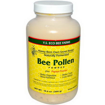 Y. S. Eco Bee Farms, Bee Pollen Powder, Plus Papaya Powder, 10.6oz (300g)
