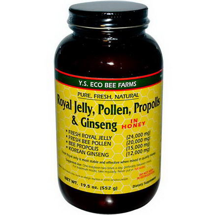 Y. S. Eco Bee Farms, Royal Jelly, Pollen, Propolis & Ginseng in Honey, 19.5oz (552g)