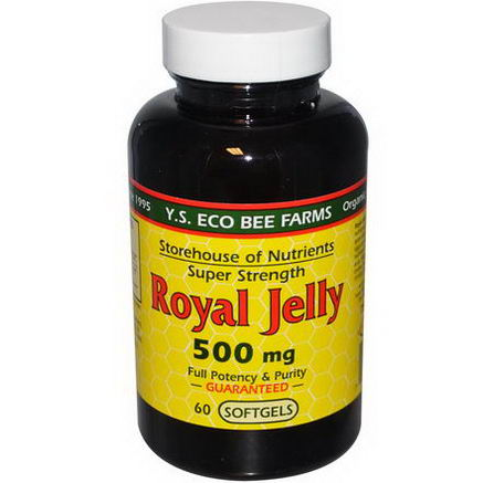 Y. S. Eco Bee Farms, Royal Jelly, Super Strength, 500mg, 60 Softgels