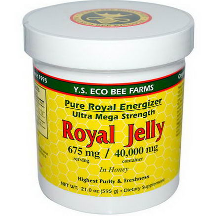Y. S. Eco Bee Farms, Royal Jelly, in Honey, 675mg, 21.0oz (595g)