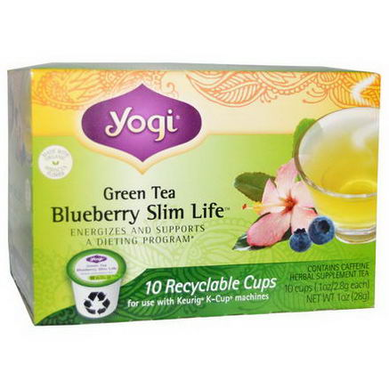 Yogi Tea, Blueberry Slim Life, Green Tea, 10 Cups, 1oz (2.8g) Each