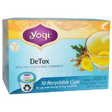 Yogi Tea, Detox, Herbal Supplement Tea, Caffeine Free, 10 Cups, 06oz (1.7g) Each