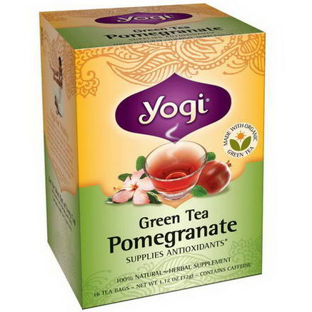 Yogi Tea, Green Tea Pomegranate, Caffeine, 16 Tea Bags, 1.12oz (32g)