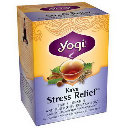 Yogi Tea, Kava Stress Relief, Caffeine Free, 16 Tea Bags, 1.27oz (36g)