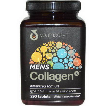 Youtheory, Mens Collagen, Type 1 & 3, 290 Tablets
