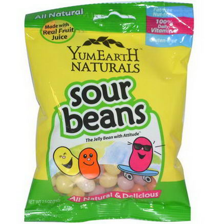 Yummy Earth, Naturals, Sour Jelly Beans, 12 Packs, 2.5oz (71g) Each
