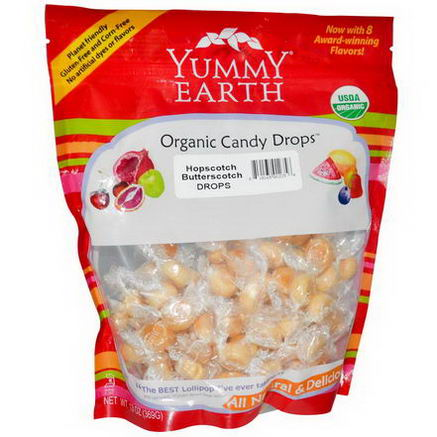 Yummy Earth, Organic Candy Drops, Family Size Bag, Hopscotch Butterscotch, 13oz (369g)