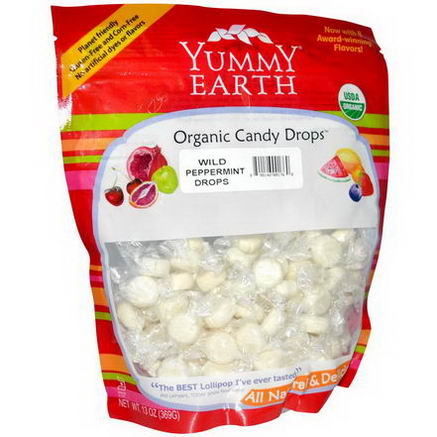 Yummy Earth, Organic Candy Drops, Family Size Bag, Wild Peppermint, 13oz (369g)