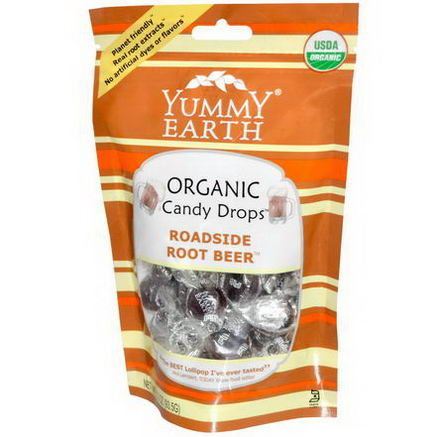 Yummy Earth, Organic Candy Drops, Roadside Root Beer, 3.3oz (93.5g)