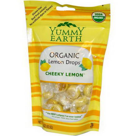 Yummy Earth, Organic Lemon Drops, Cheeky Lemon, 3.3oz (93.5g)