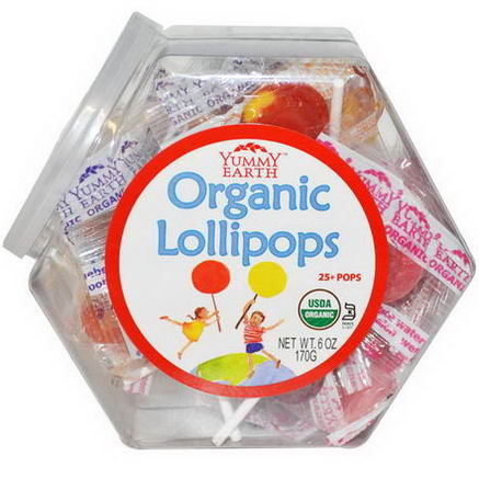 Yummy Earth, Organic Lollipops, 25+ Pops, 6oz (170g)