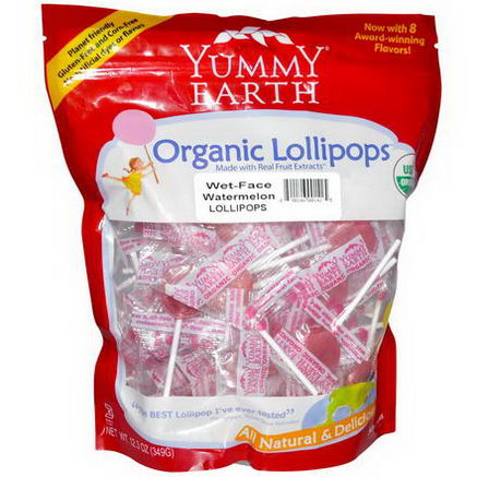 Yummy Earth, Organic Lollipops, Family Size Bag, Wet-Face Watermelon, 50+ Pops, 12.3oz (349g)