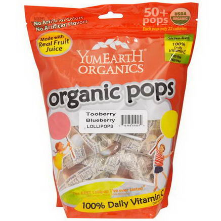 Yummy Earth, Organic Pops, Tooberry Blueberry Lollipops, 50+ Pops approx, 12.3oz (349g)