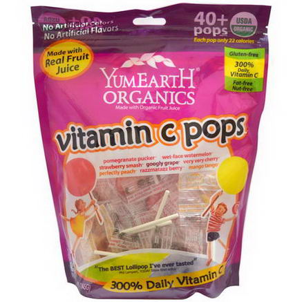 Yummy Earth, Organic, Vitamin C Pops, Assorted Flavors, 40 Pops, 8.5oz (245g)