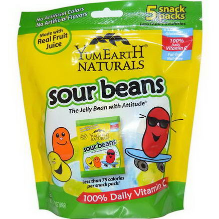 Yummy Earth, Sour Beans, 5 Snack Packs, 3.5oz (99g)