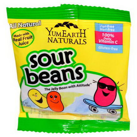 Yummy Earth, Sour Jelly Beans, Snack Pack (Bulk), 50 Packs, 20g Each