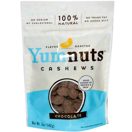 Yumnuts Naturals, Flavor Roasted Cashews, Chocolate, 5oz (142g)