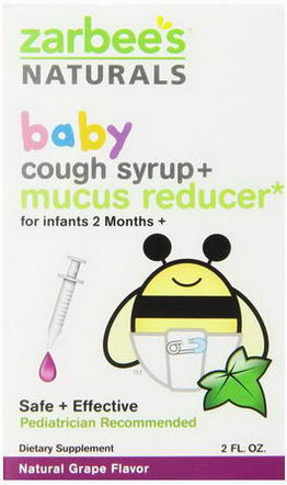 Zarbee's, Baby, Cough Syrup + Mucus Reducer, Natural Grape Flavor, 2 fl oz