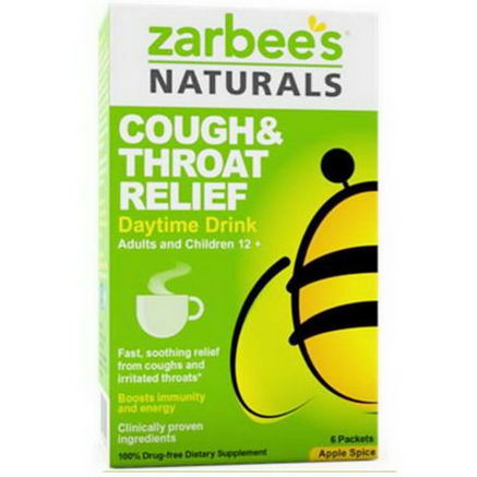 Zarbee's, Cough & Throat Relief, Daytime Drink, Apple Spice, 6 Packets (16g) Each