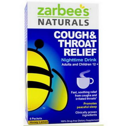 Zarbee's, Cough & Throat Relief, Nighttime Drink, Honey Lemon, 6 Packets (16g) Each