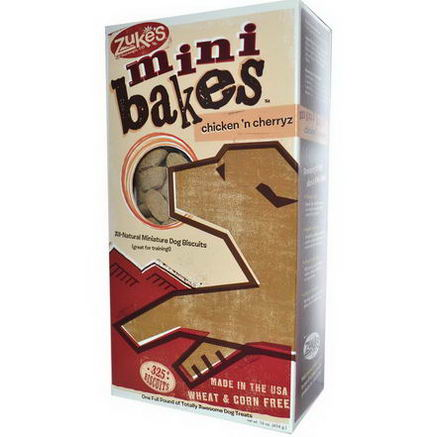Zuke's, Mini Bakes, All-Natural Miniature Dog Biscuits, Chicken 'n Cherryz, 325+ Biscuits, 16oz (454g)