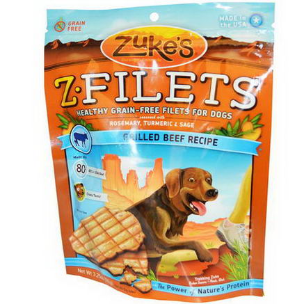 Zuke's, Z-Filets, Dog Treats, Grilled Beef Recipe, 3.25oz (92g)