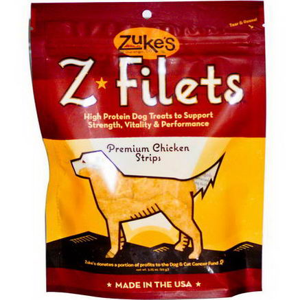 Zuke's, Z-Filets Dog Treats, Premium Chicken Strips, 3.25oz (92g)