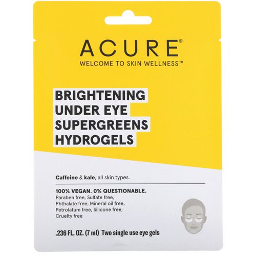 Acure, Brightening Under Eye SuperGreens Hydrogels, 2 Single Use Eye Gels, 0.236 fl oz (7 ml) Review