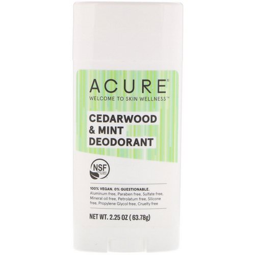 Acure, Deodorant, Cedarwood & Mint, 2.25 oz (63.78 g) Review