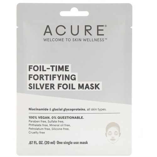 Acure, Foil-Time Fortifying Silver Foil Mask, 1 Single Use Mask, 0.67 fl oz (20 ml) Review