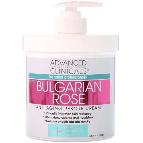 Advanced Clinicals, Anti-Aging Rescue Cream, Bulgarian Rose, 16 oz (454 g) Review