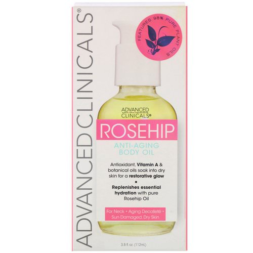 Advanced Clinicals, Rosehip, Anti-Aging Body Oil, 3.8 fl oz (112 ml) Review