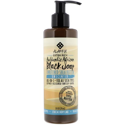 Alaffia, Authentic African Black Soap, Extra Rich, Unscented, 8 fl oz (236 ml) Review