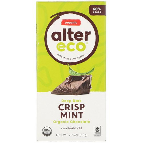 Alter Eco, Organic Chocolate Bar, Deep Dark Crisp Mint, 2.82 oz (80 g) Review