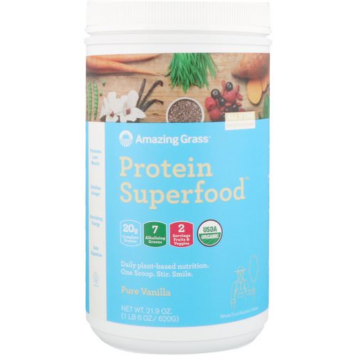Amazing Grass, Protein Superfood, Pure Vanilla, 1.37 lbs (620 g) Review
