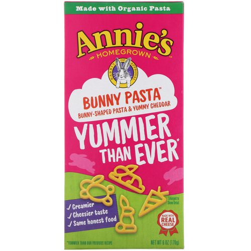 Annie's Homegrown, Bunny Pasta, Bunny Shaped Pasta & Yummy Cheddar, 6 oz (170 g) Review