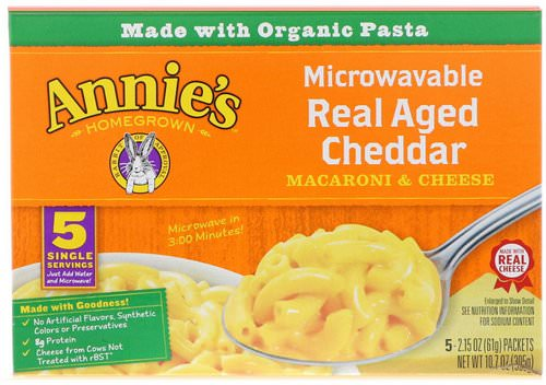 Annie's Homegrown, Microwavable Mac & Cheese, Real Aged Cheddar, 5 Packets, 2.15 oz (61 g) Each Review