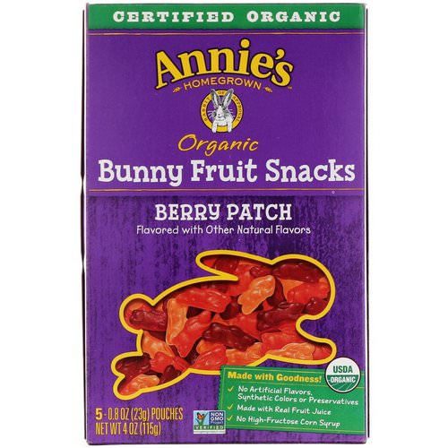 Annie's Homegrown, Organic Bunny Fruit Snacks, Berry Patch, 5 Pouches, 0.8 oz (23 g) Each Review