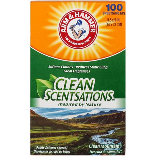 Arm & Hammer, Clean Scentsations, Fabric Softener Sheets, Clean Mountain, 100 Sheets Review
