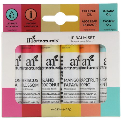 Artnaturals, Lip Balm Set, 6 Lip Balms, 0.15 oz (4.25 g) Each Review